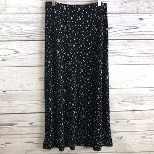 VTG Briggs 90s Slinky Floral Button Front Skirt